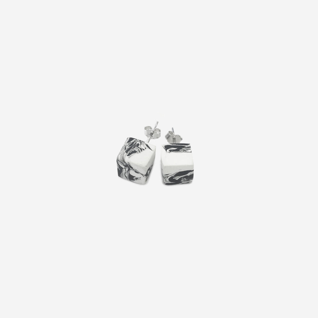 Clay Cube Studs Earrings - Black & White - AHED Project