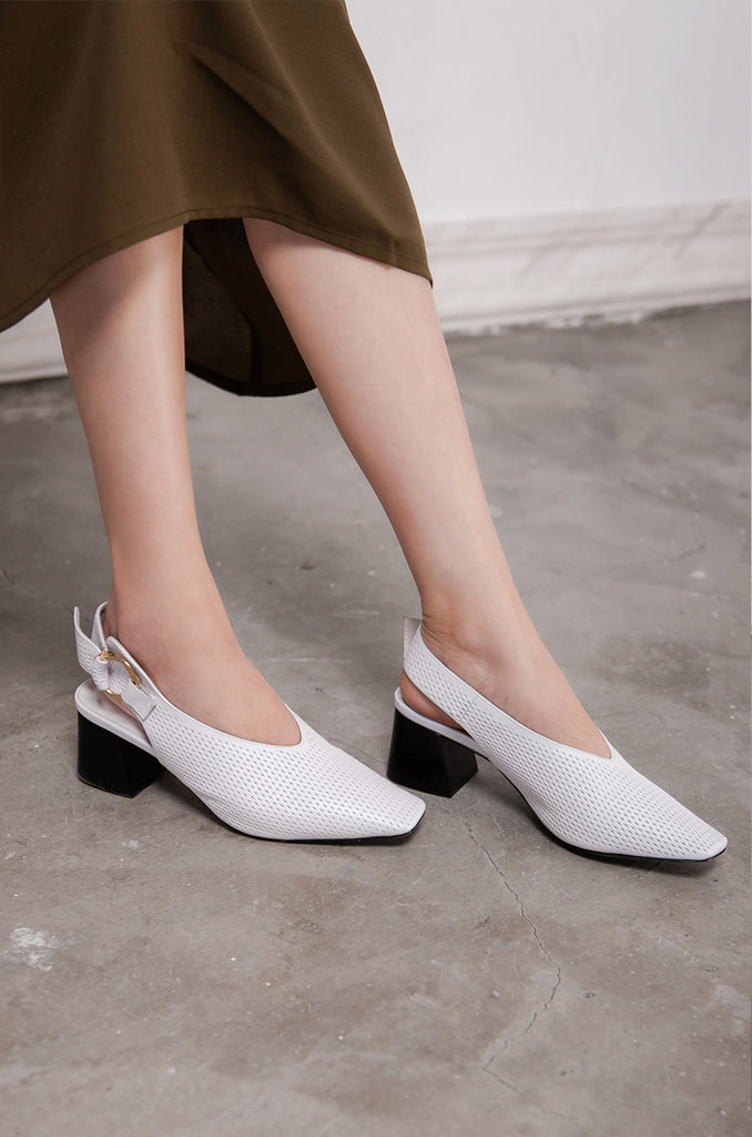 Hollow Leather Slingback Block Heel Mules- 3 Shades