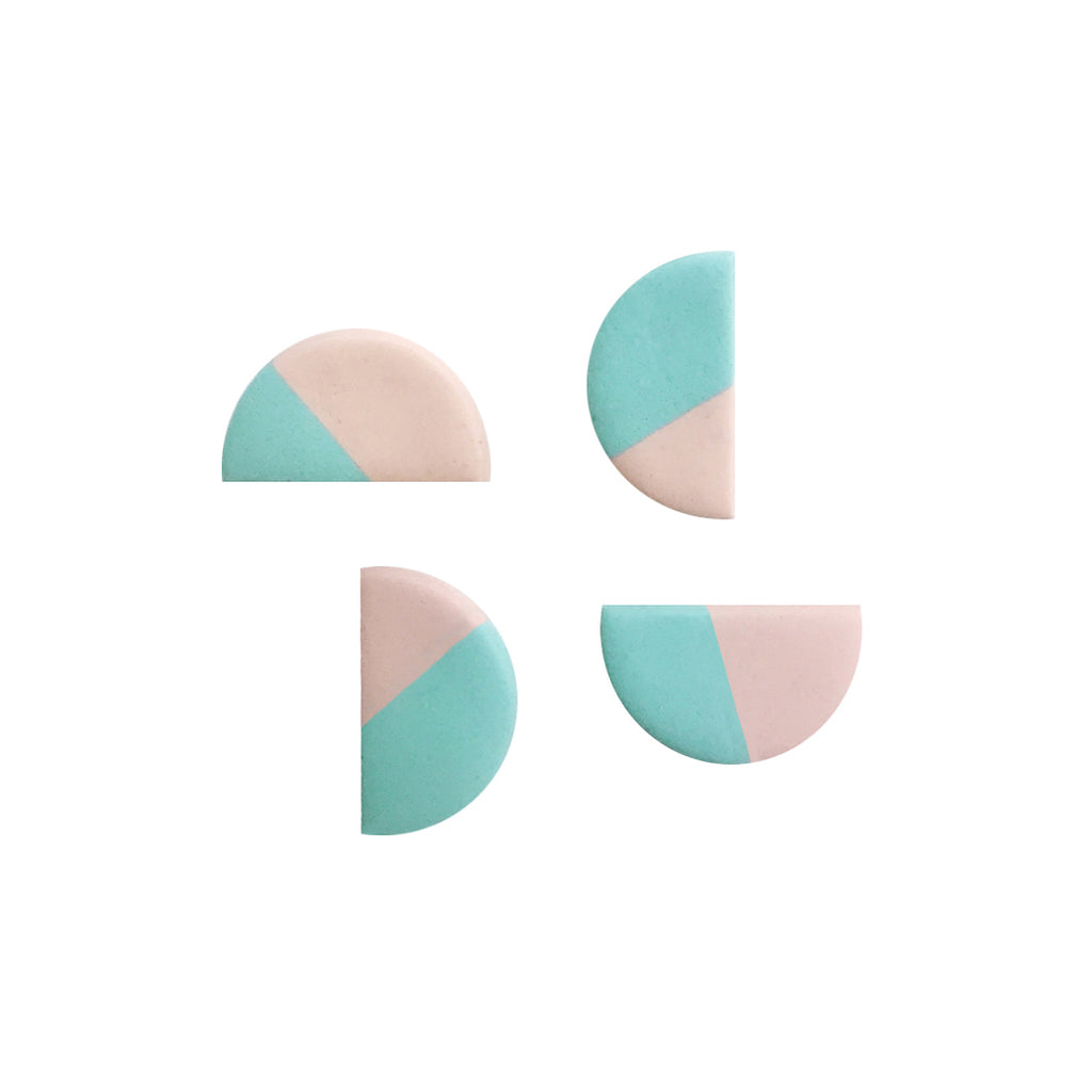 Semicircle Clay Dual-Color Stud Earrings