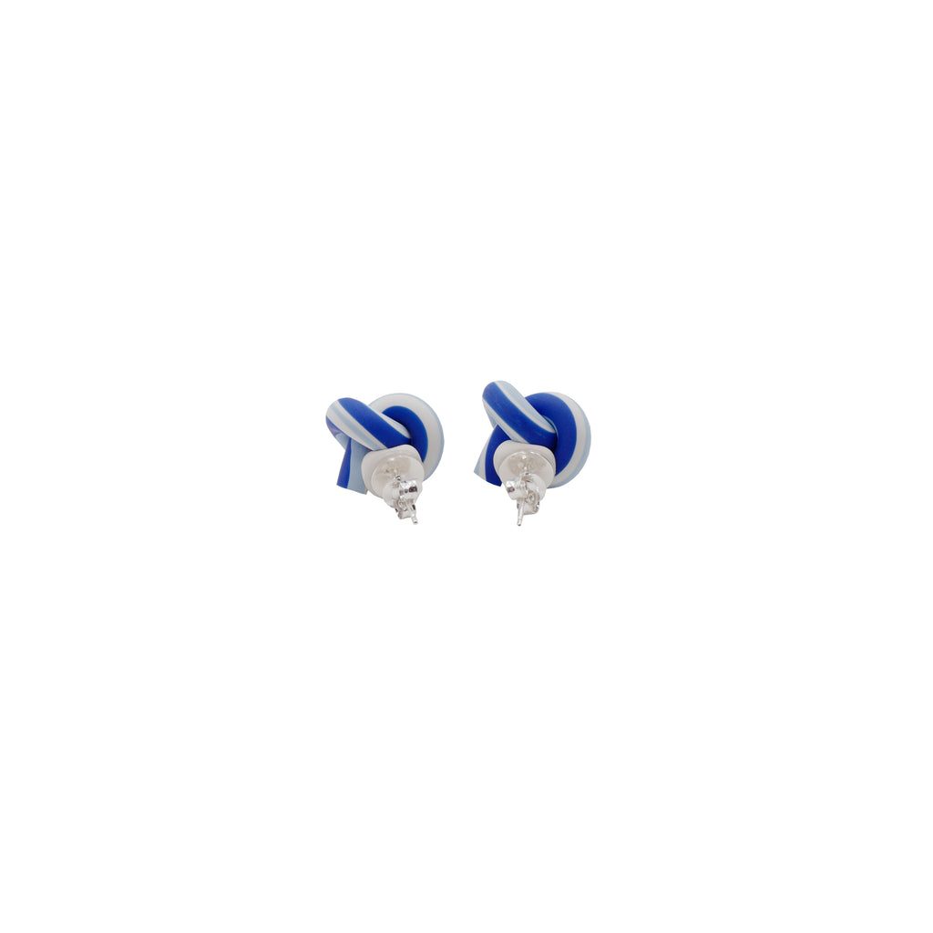 Blended Blue Clay Twist Knot Stud Earrings - AHED Project