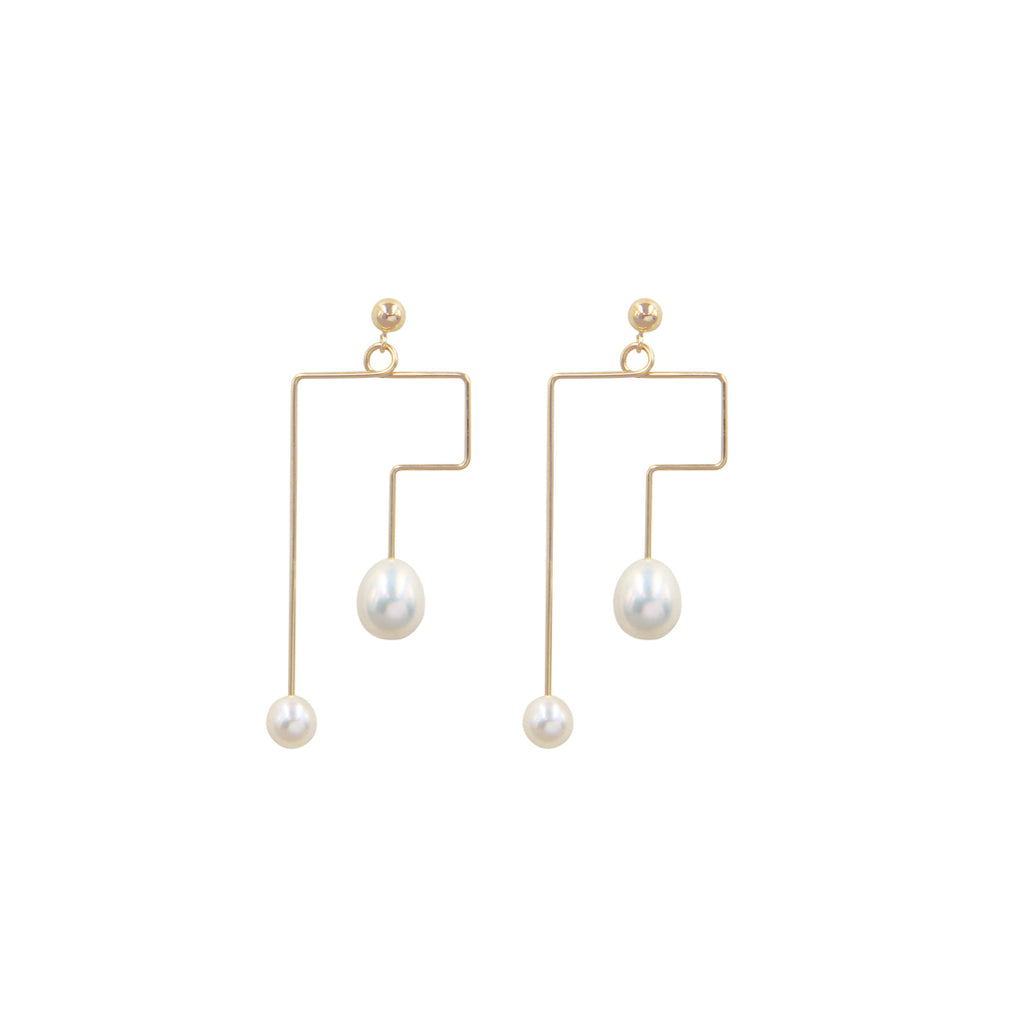 Minimalist Zigzag Line 14K Gold Filled Pearl Earrings - AHED Project