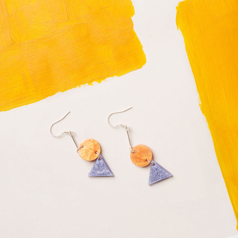 Hand-Painted Geometric Refreshing Color Palette Drop Earrings - AHED Project