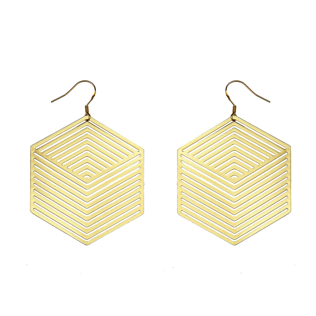 Bauhaus-Inspired Hexagon Disc Drop Earrings - AHED Project