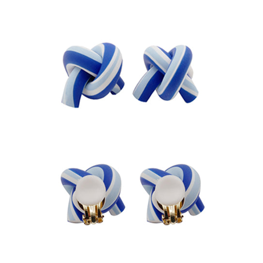 Blended Blue Clay Twist Knot Stud Earrings (Quick to ship) - AHED Project