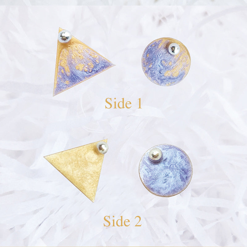 Reversible Hand-Painted Asymmetrical Stud Earrings - AHED Project