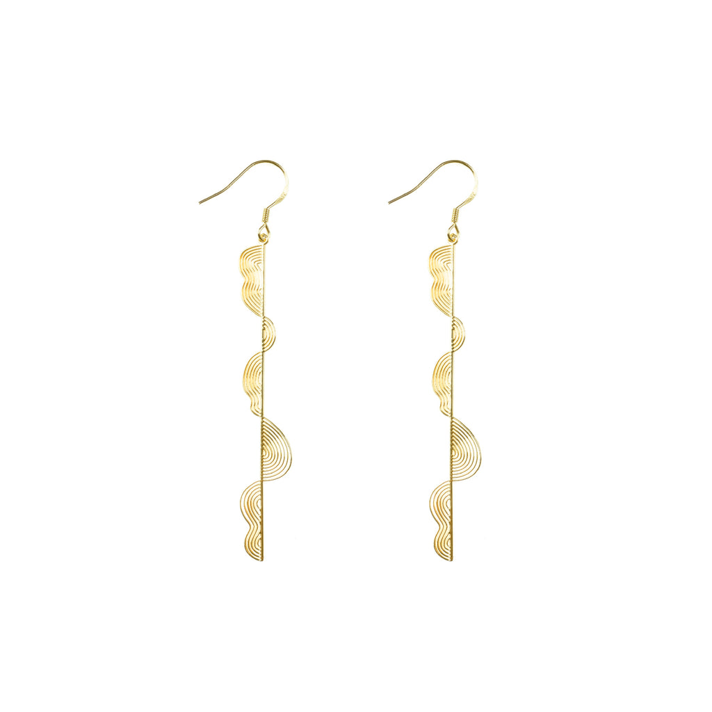 Gold Plated Irregular Wavy Bar Drop Earrings