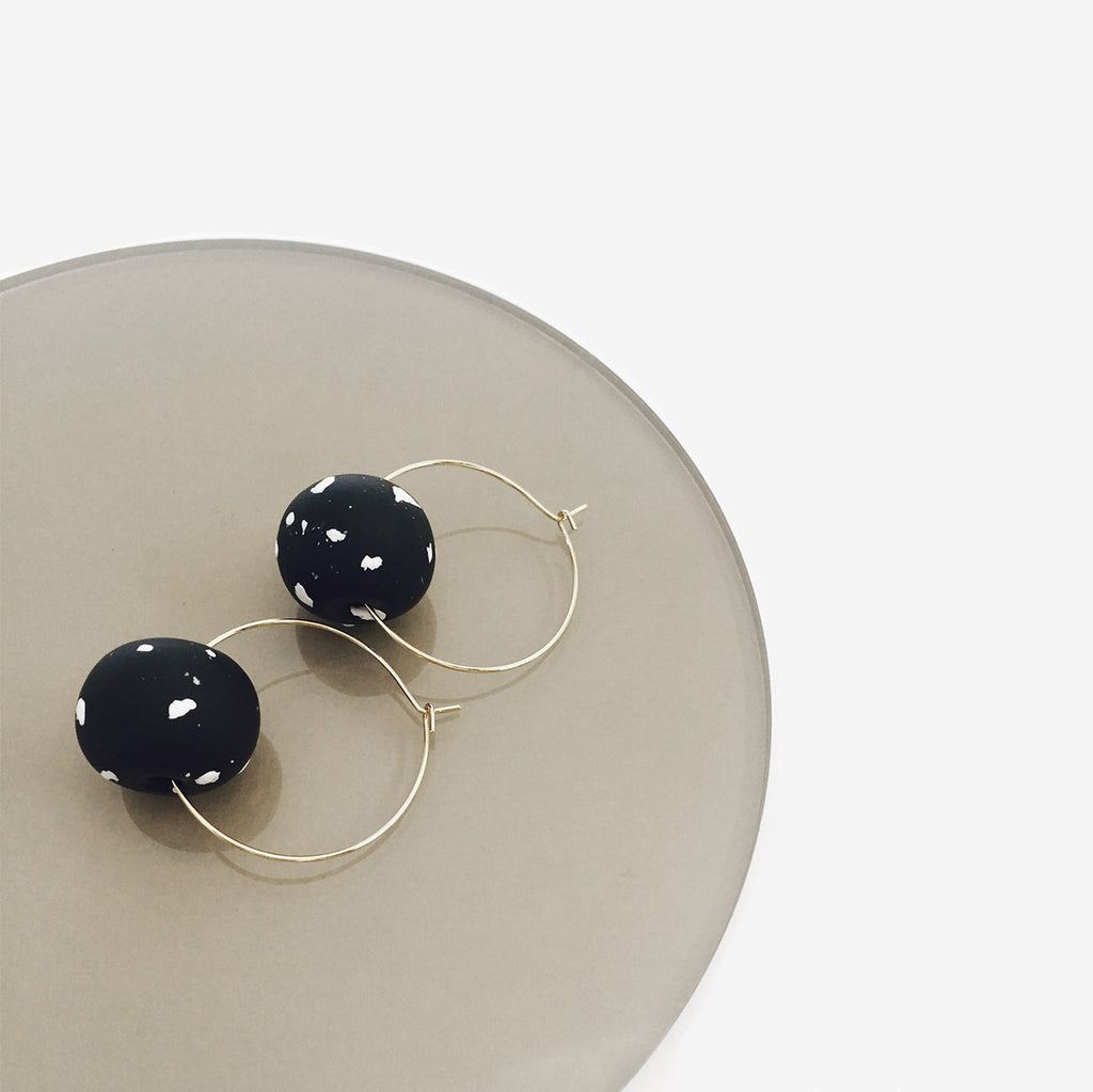 Delicate Clay Ball Drop Hoop Earrings (Quick to ship) - AHED Project