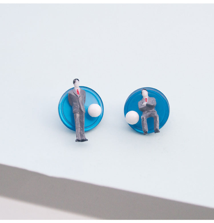 Businessman Figurine Disc Stud Earrings - AHED Project