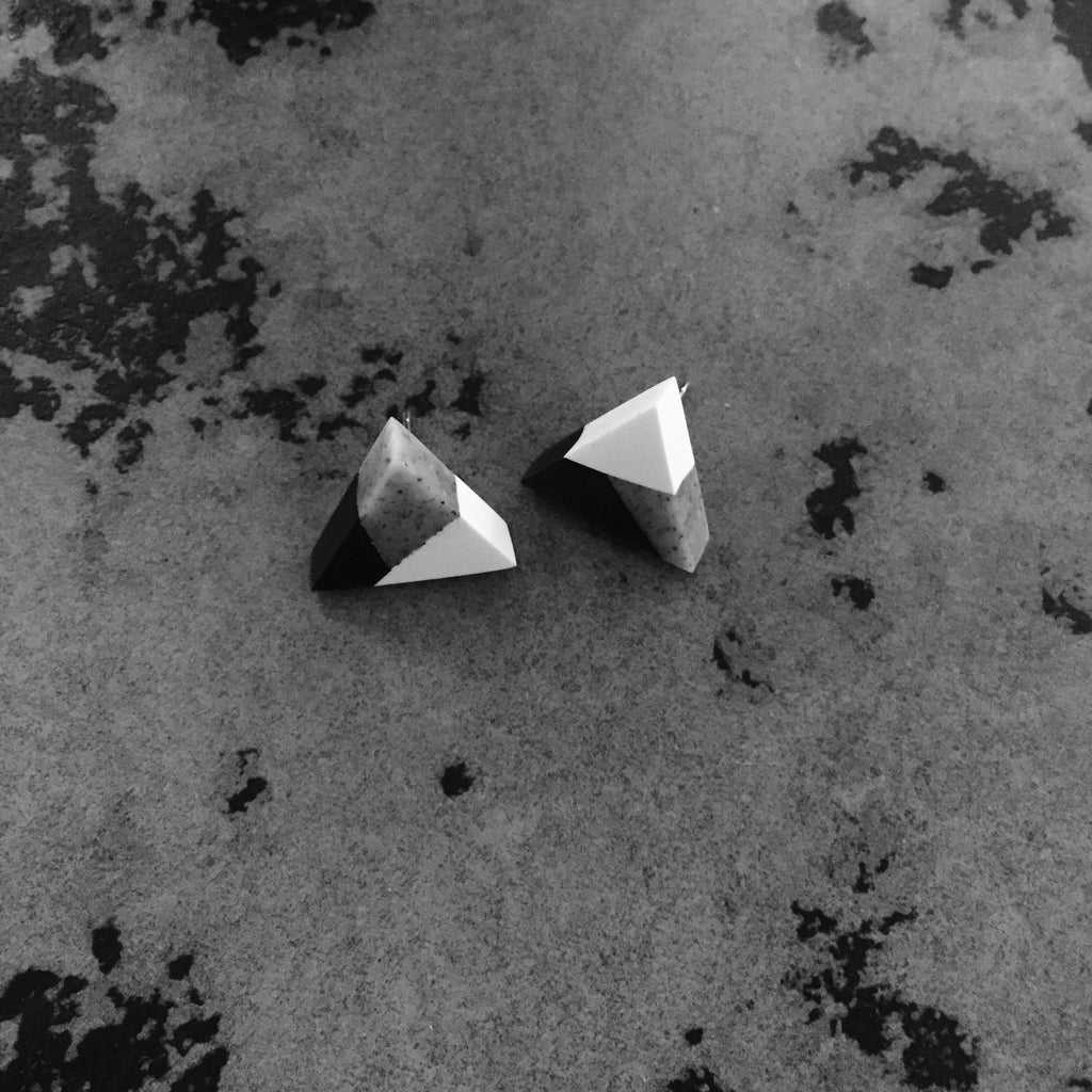 Triangle Clay Stud Earrings - Sesame Cake - 2 to 5 Days Delivery