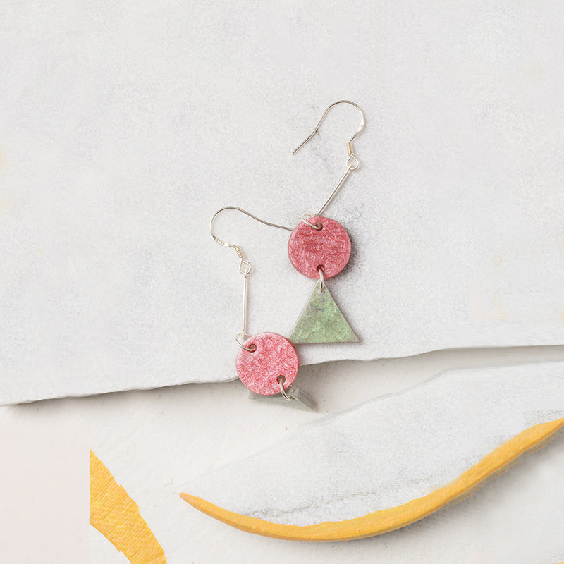 Hand-Painted Geometric Refreshing Color Palette Drop Earrings