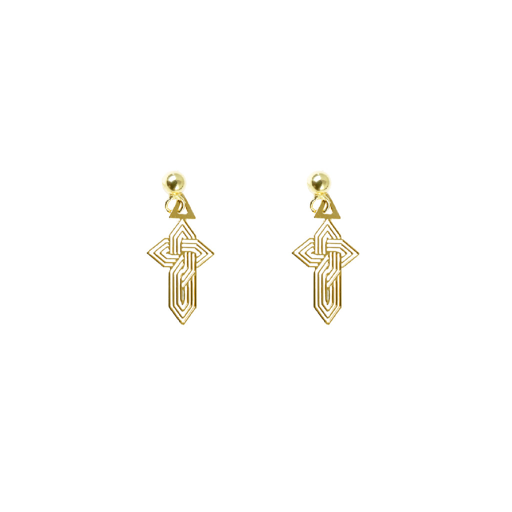 Petite Gothic-Inspired Gold Plated Drop Earrings - AHED Project