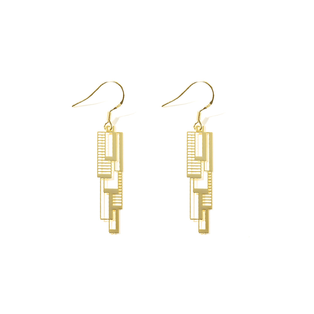 Gold Plated Architecture-Inspired Drop Earrings