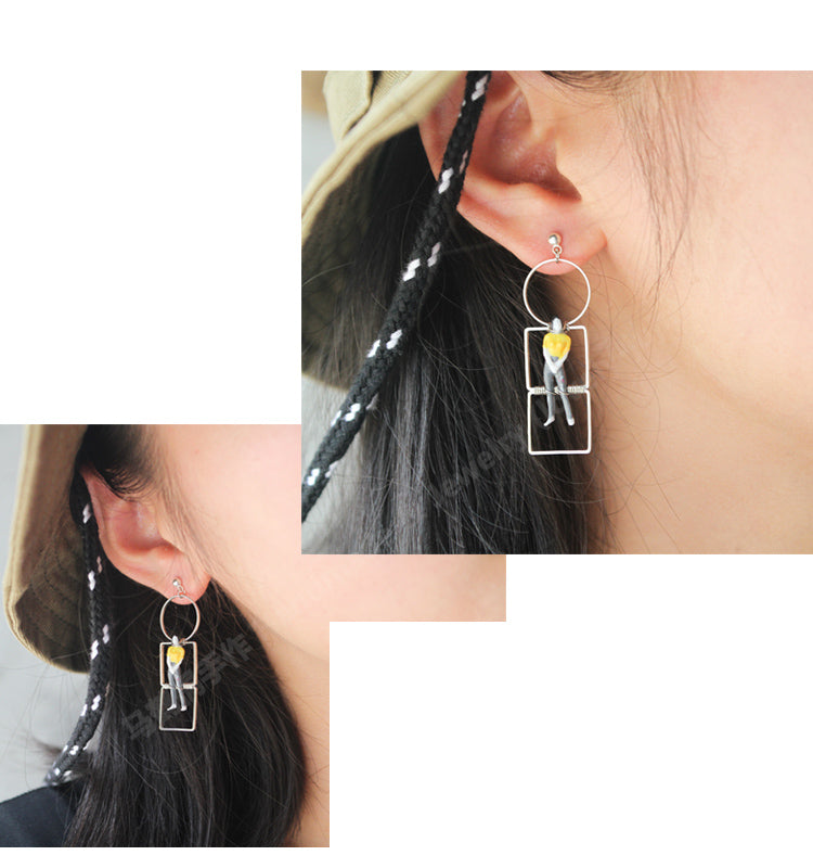 Layered Geometric Shape Figurine Drop Earrings