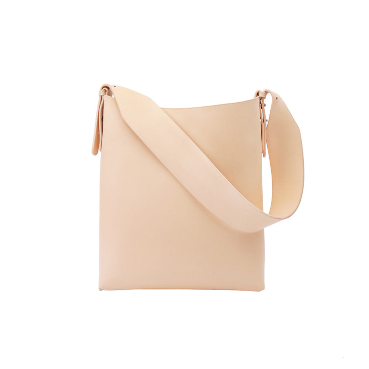 Minimalist Cream Apricot Leather Tote Bag - AHED Project