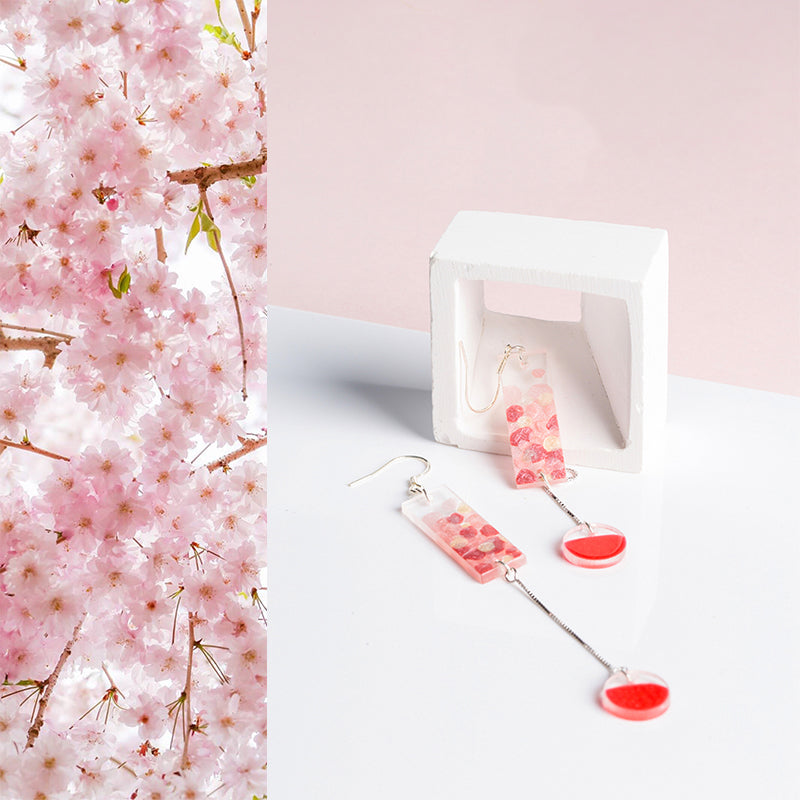 Sakura Series - Painted Petals Geometric Drop Earrings