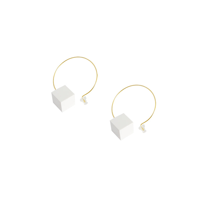 Minimalist White Cube Drop Hoop Earrings (Quick to ship) - AHED Project