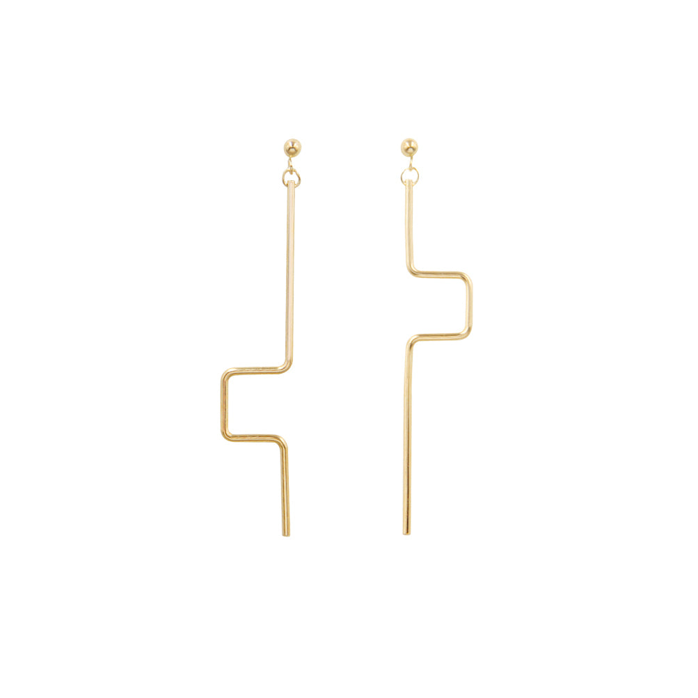 Minimalist Line 14K Gold Filled Stud Drop Earrings - AHED Project