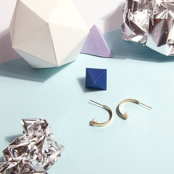 14K Gold Filled C-Shape Semi Hoop Pearl Stud Earrings (Quick to ship) - AHED Project