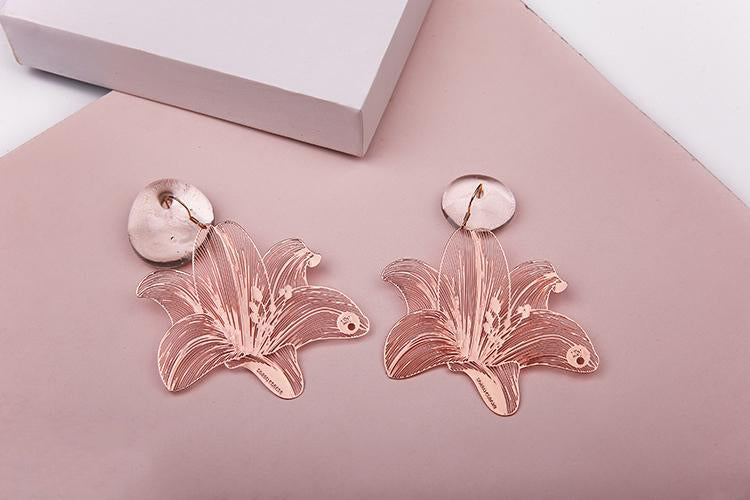 Carved Lily Statement Drop Earrings