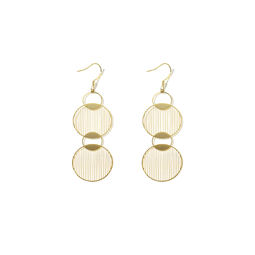 18K Gold Plated Link Circle Earrings