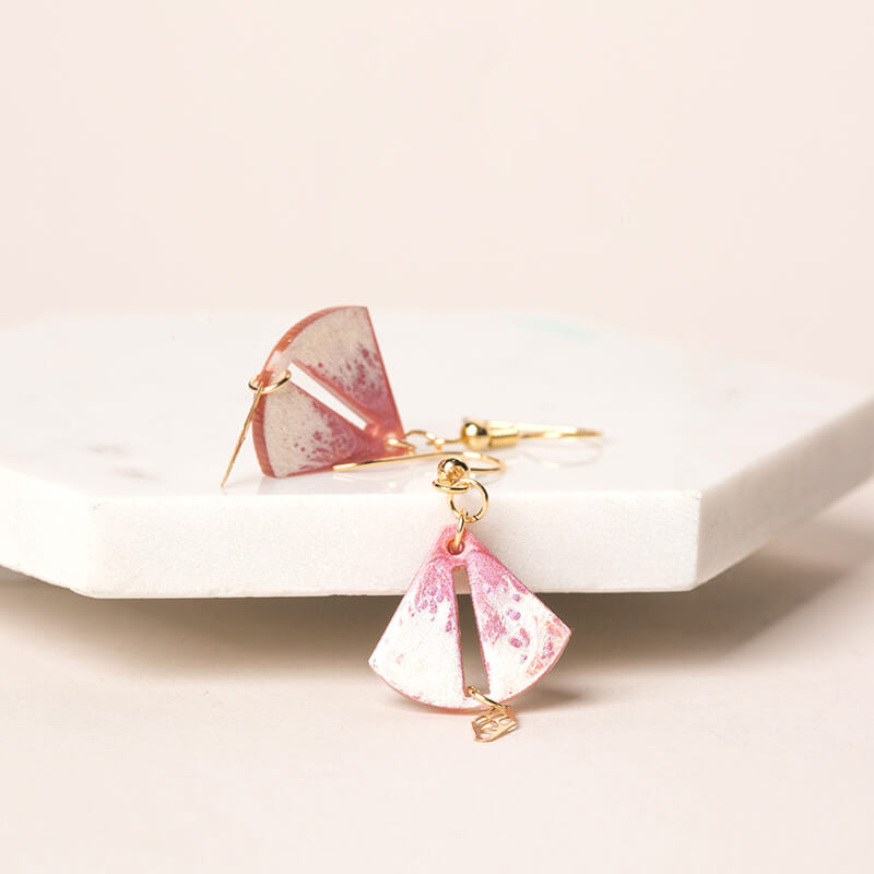 Hand-Painted Petal Fan Inspired Pearl Drop Earrings - AHED Project
