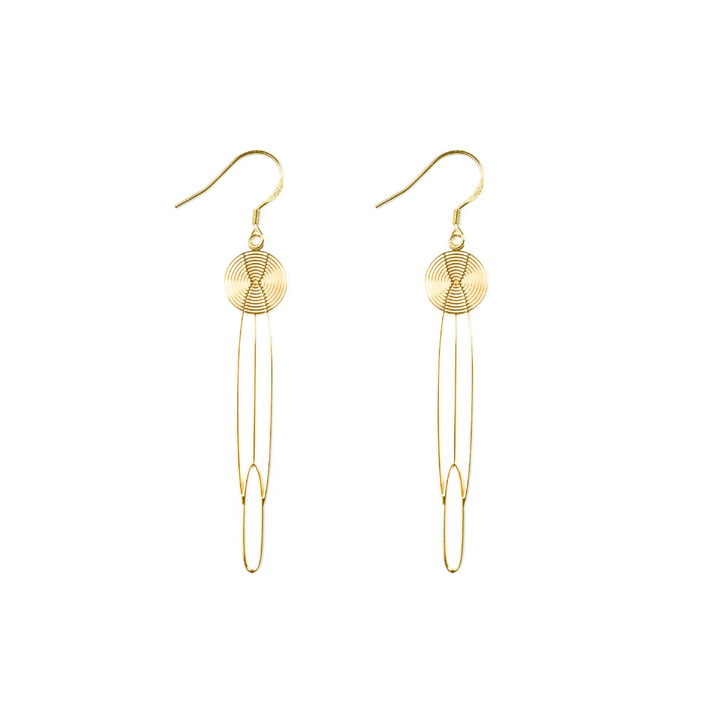 Gold Plated Retro Disc Chain Drop Earrings - AHED Project