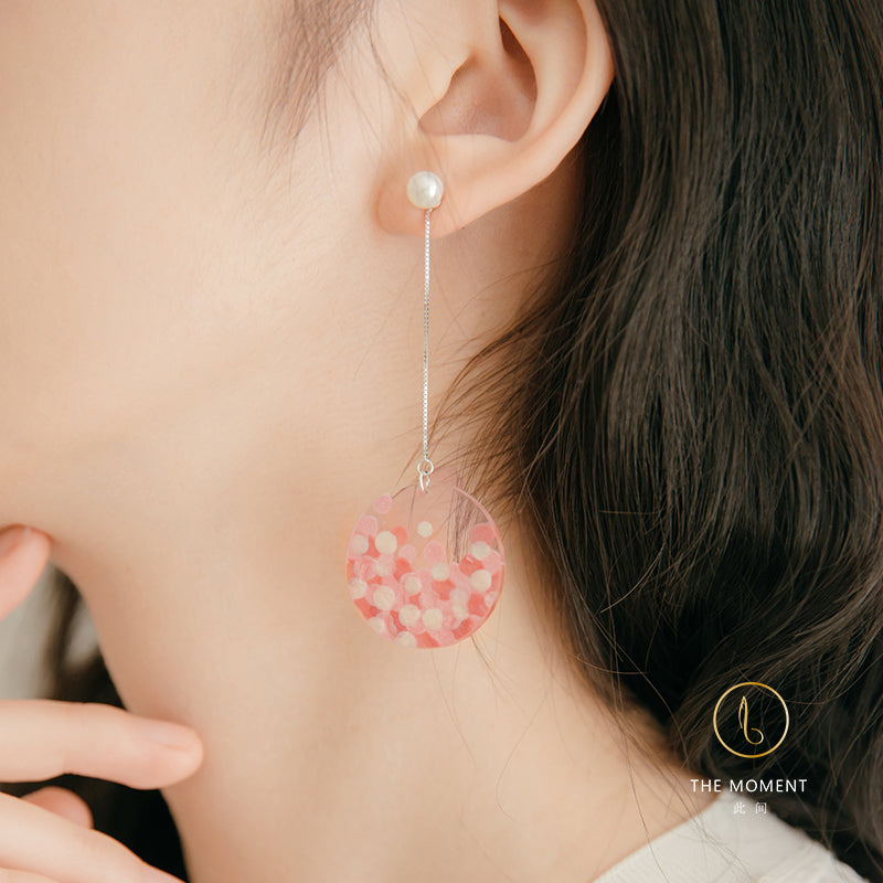 Sakura Series - Painted Petals Disc Pearl Threader Drop Earrings - AHED Project