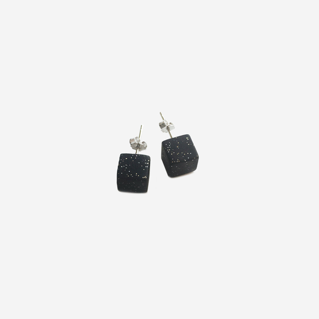 Clay Cube Studs Earrings - Black & Gold (Quick to ship) - AHED Project