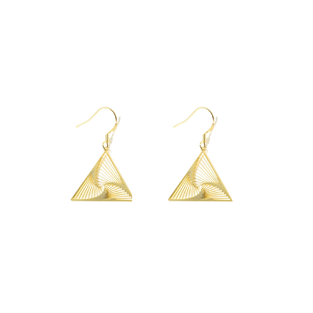 18K Gold Plated Cutout Wave Triangle Drop Earrings - AHED Project