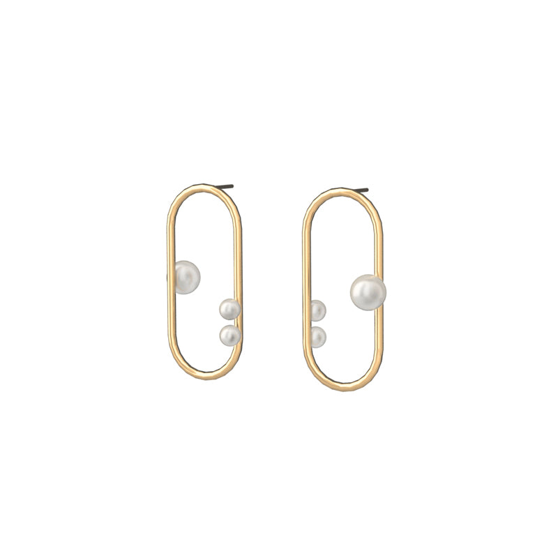 Constellation Inspired 14K Gold Filled Stud Hoop Pearl Earrings - AHED Project