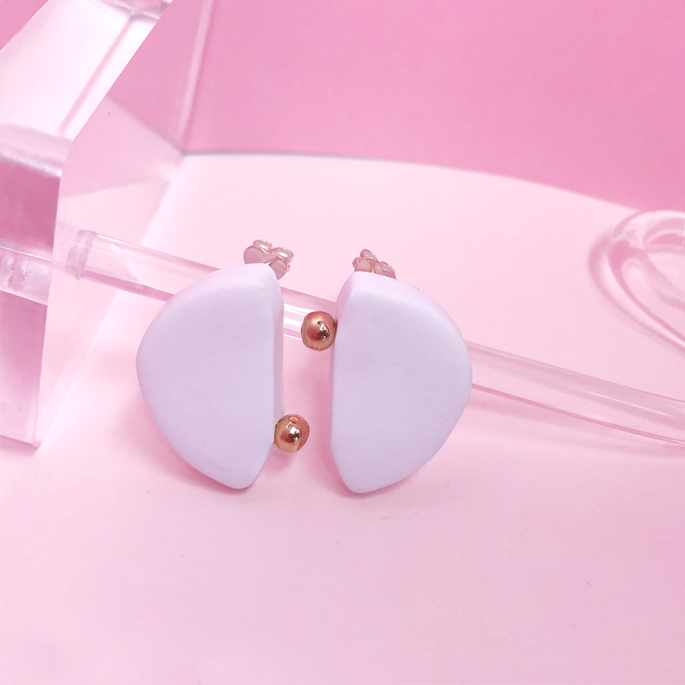 Half Moon Shape Clay Stud Earrings - AHED Project