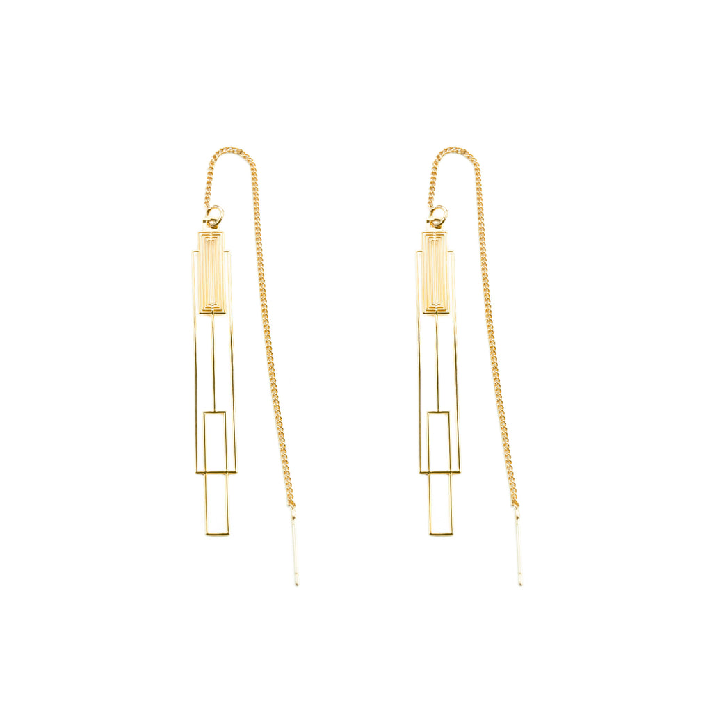 Gold Plated Modern Lantern Outline Drop Earrings - AHED Project