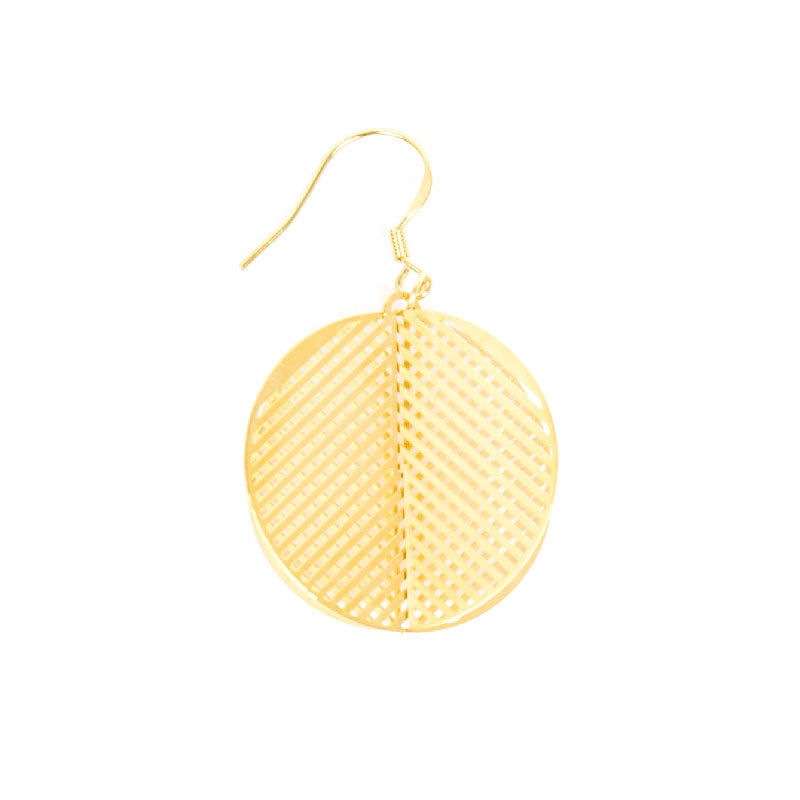 Gold Plated Cross Connect Discs Drop Earrings