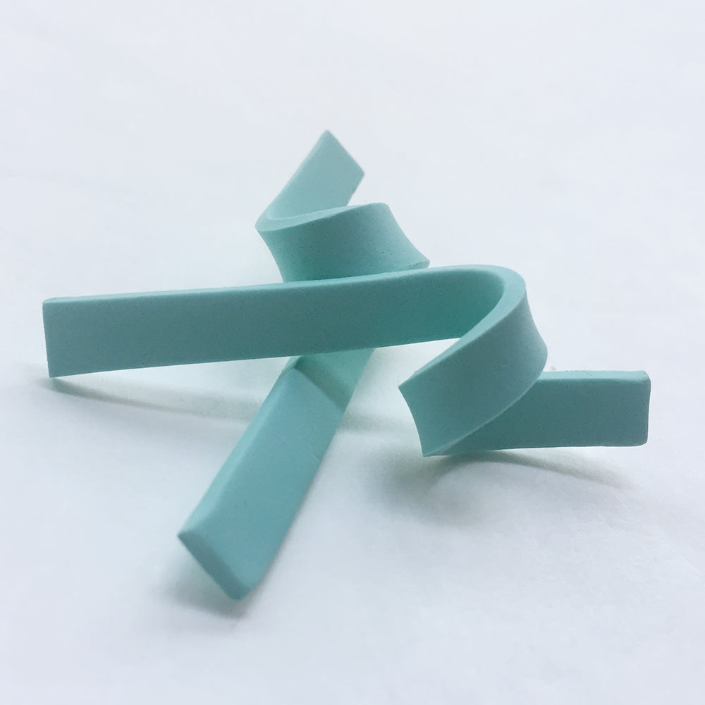 Minimalist Twisted Clay Stud Earrings - Minty Green - AHED Project