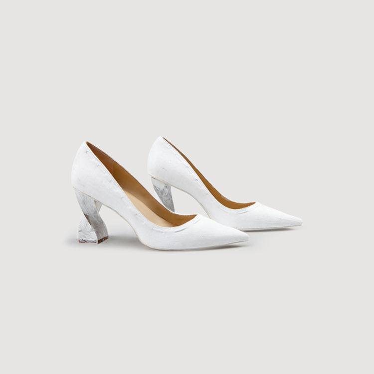 Pointed Toe Twisted Heel Pumps in 2 Shades