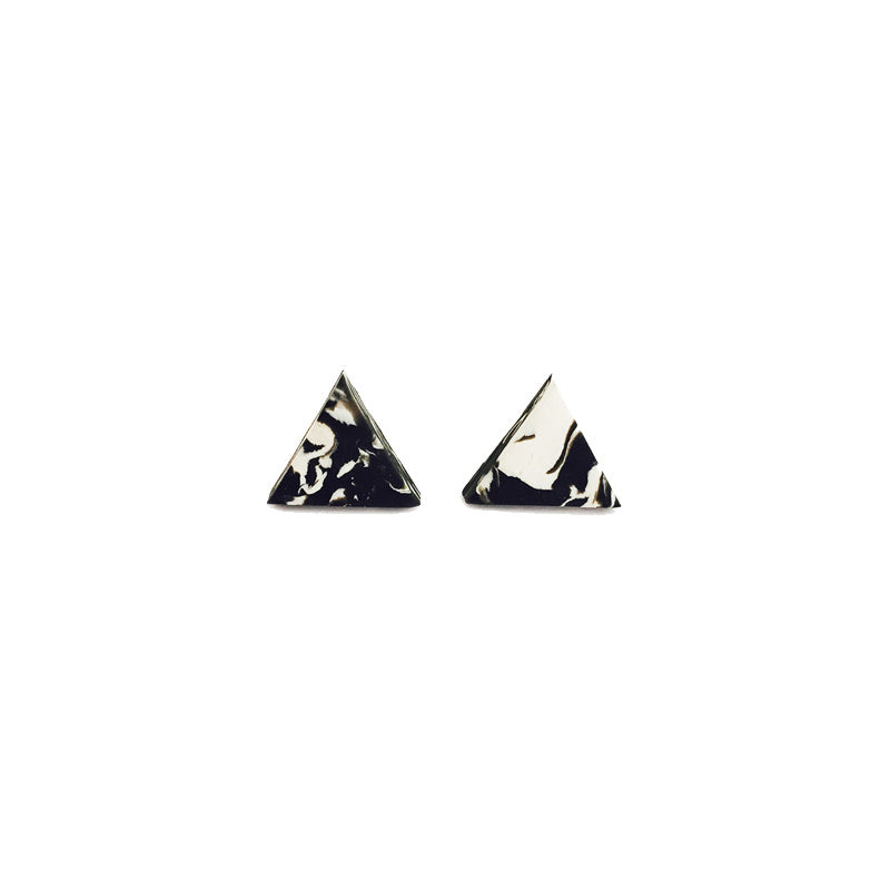 Marble Blend Clay Triangle Stud Earrings (Quick to ship) - AHED Project
