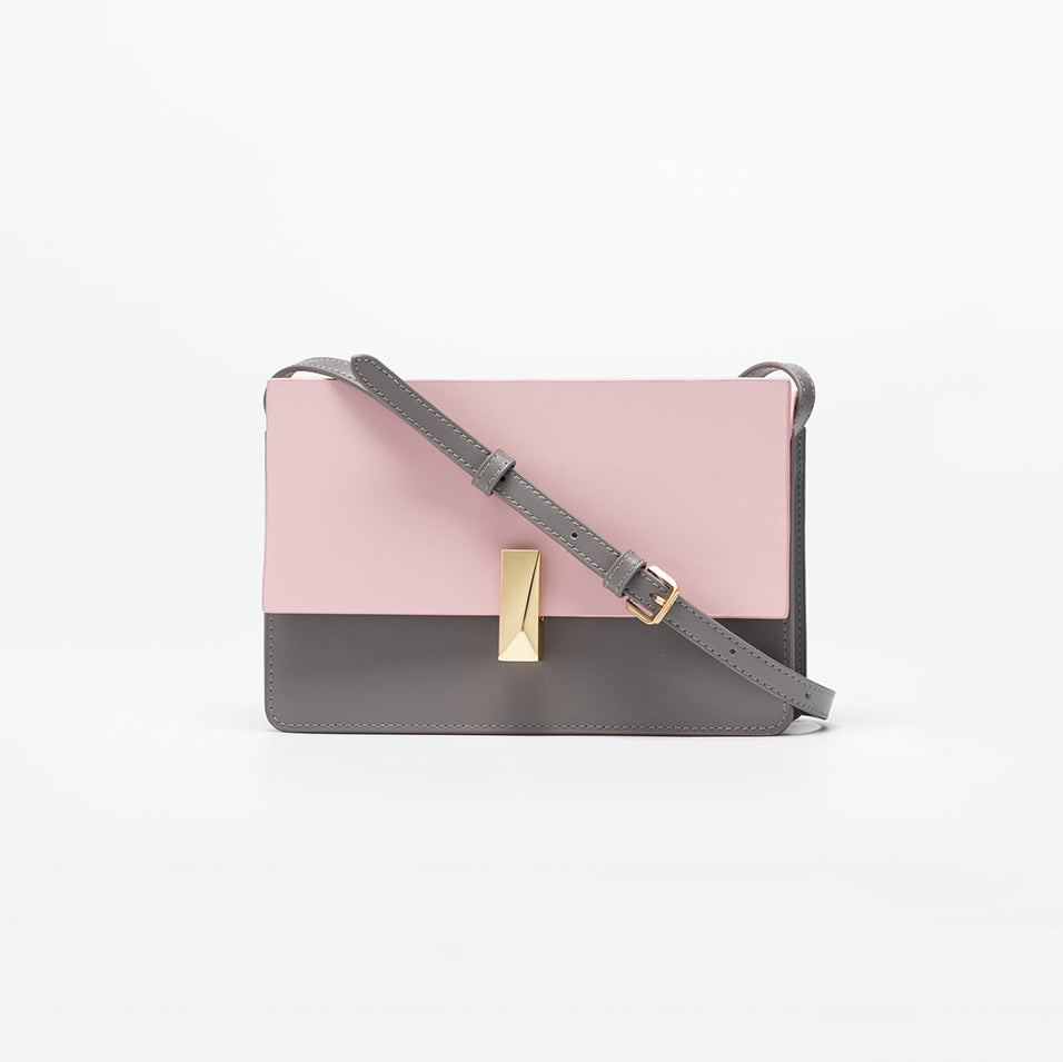 Structured Dual-Tone Crossbody Box Bag - Prink & Grey