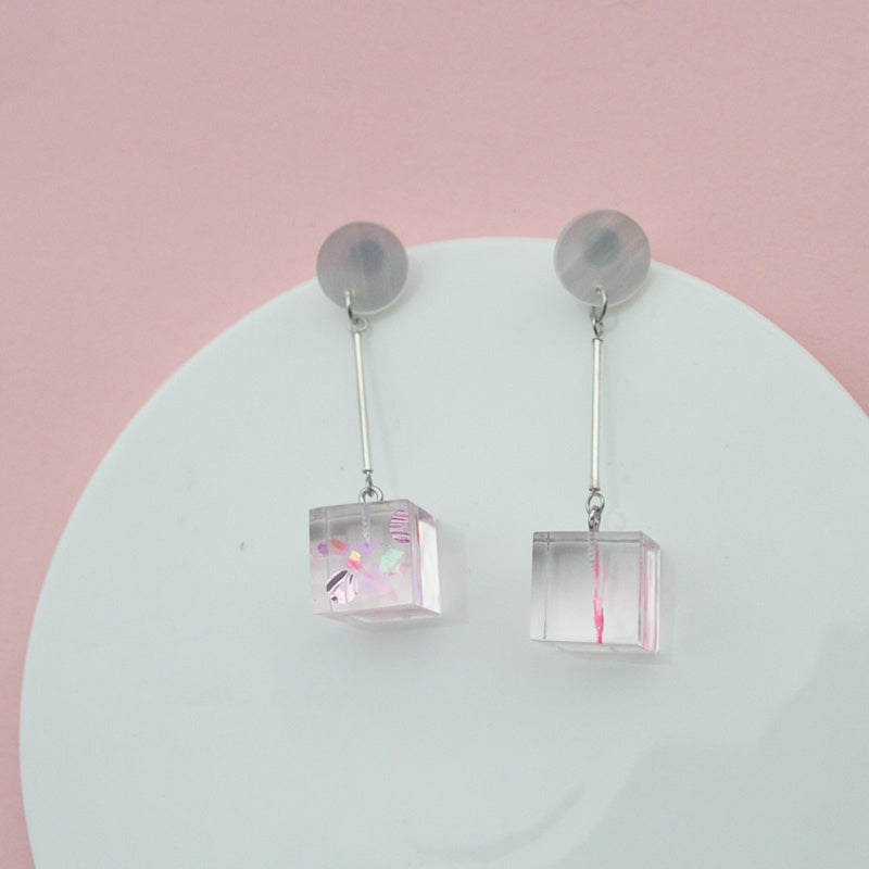 Trapped Color Sealed Cube Drop Stud Earrings