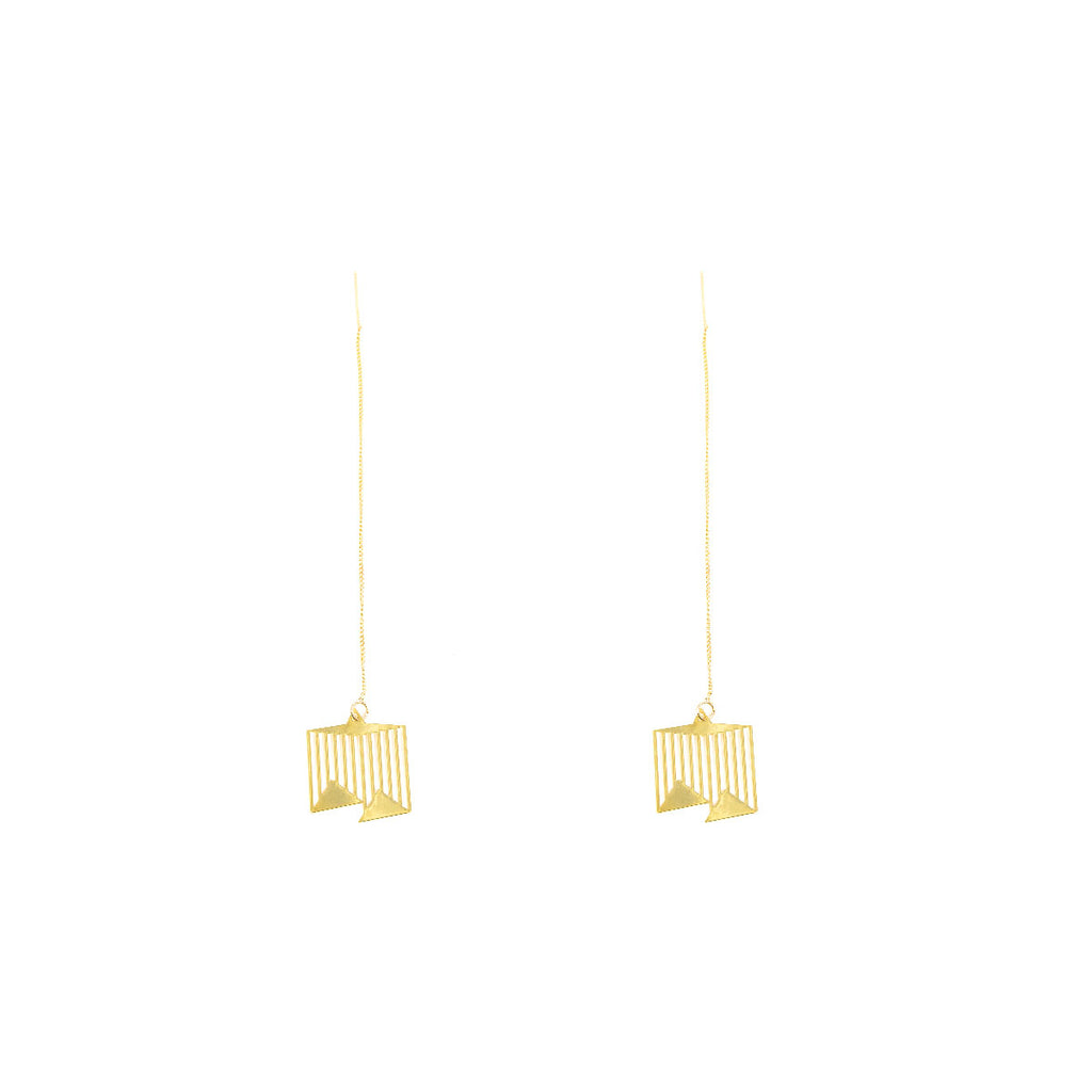 18K Gold Plated Carved Plate Threader Drop Earrings - AHED Project