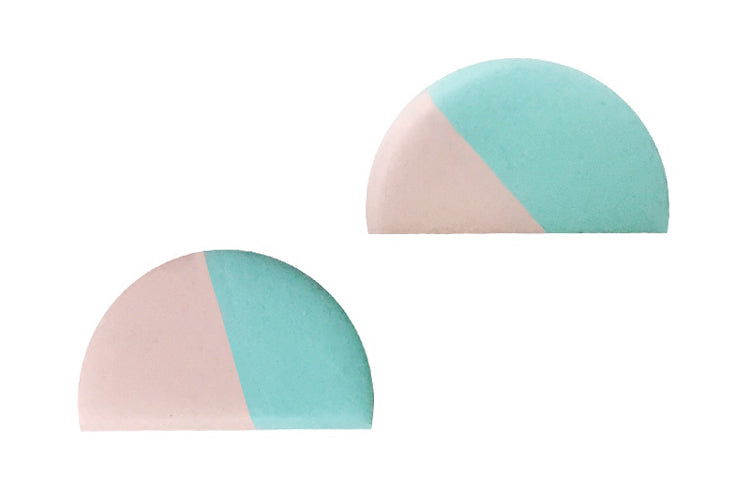 Semicircle Clay Dual-Color Stud Earrings - AHED Project