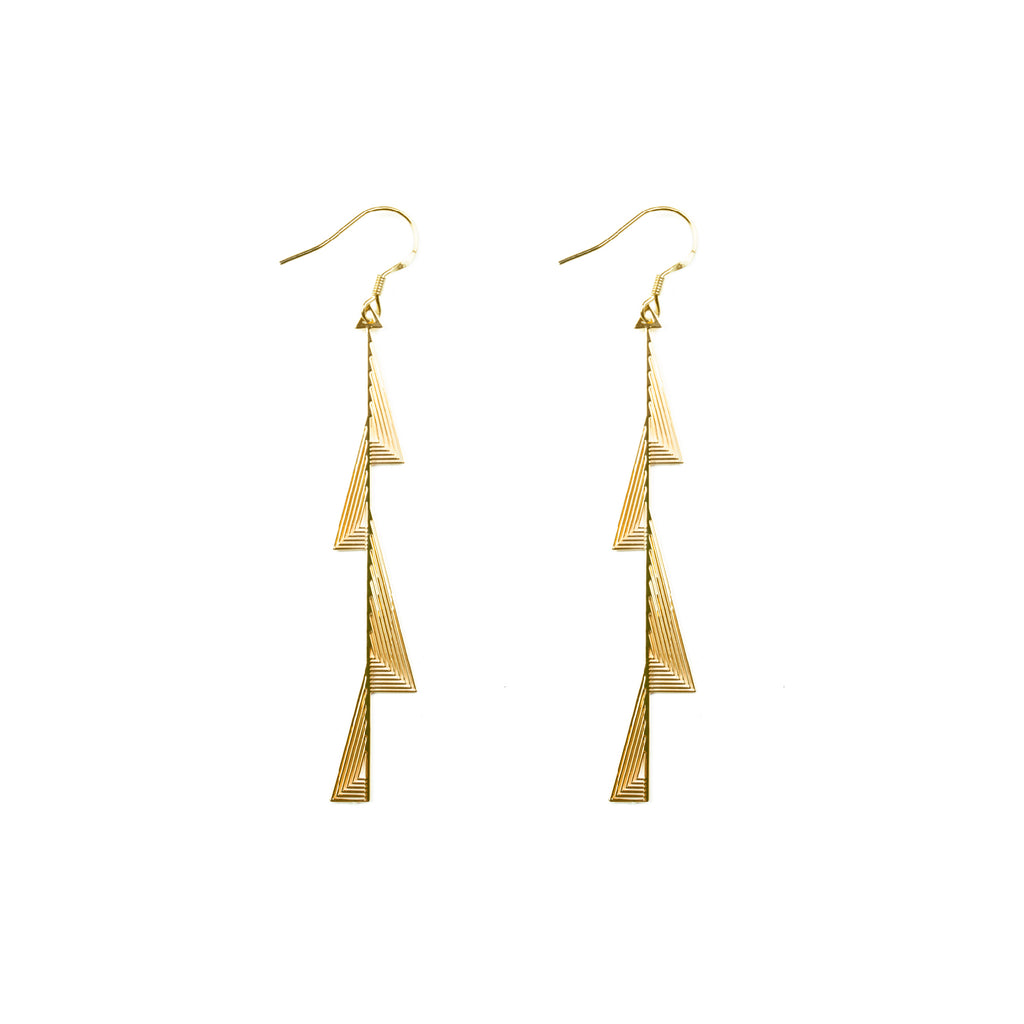 Gold Plated Irregular Zigzag Bar Drop Earrings - AHED Project