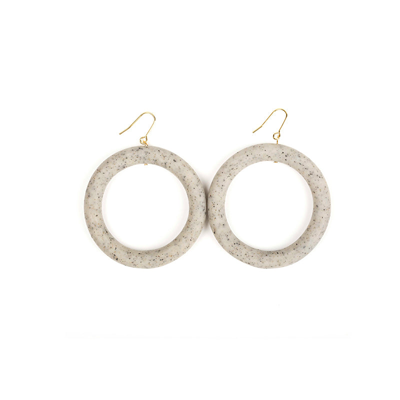 Mud Grey Clay Hoop Drop Earrings (Quick to ship) - AHED Project