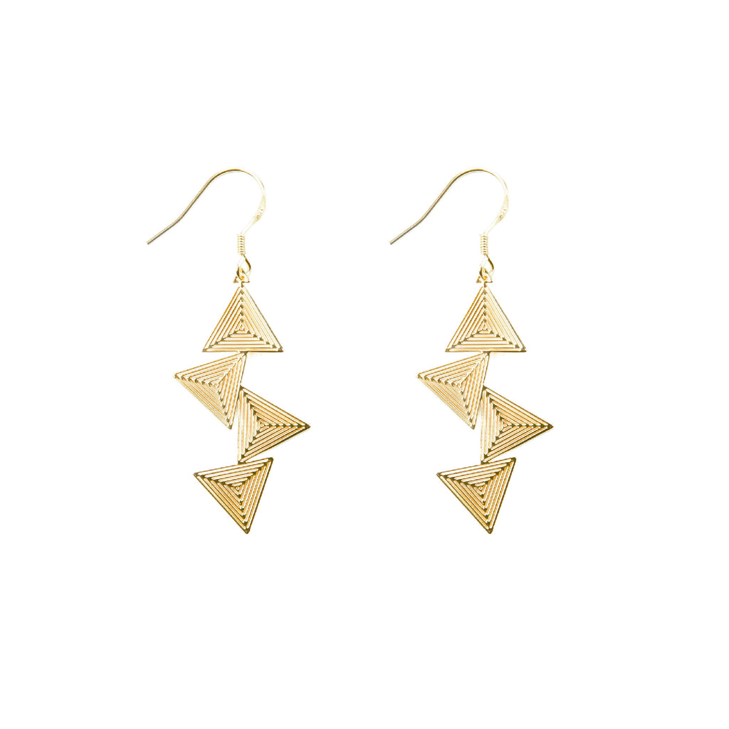 Gold Plated Stacked Triangle Rhythm Series Drop Earrings