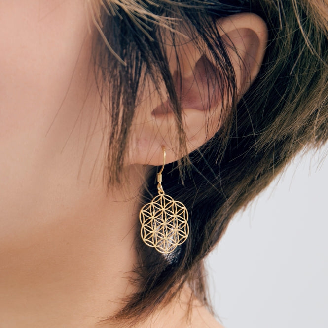 Delicate Gold Lace Flake Drop Earrings - AHED Project