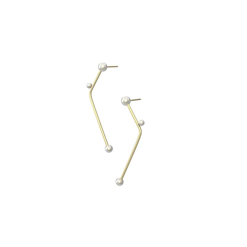 Minimalist Simple Line 14K Gold Filled Pearl Earrings