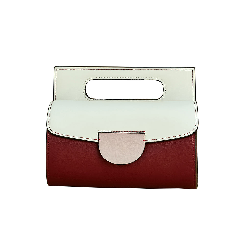 Structured Top Handle Color Block Crossbody Bag