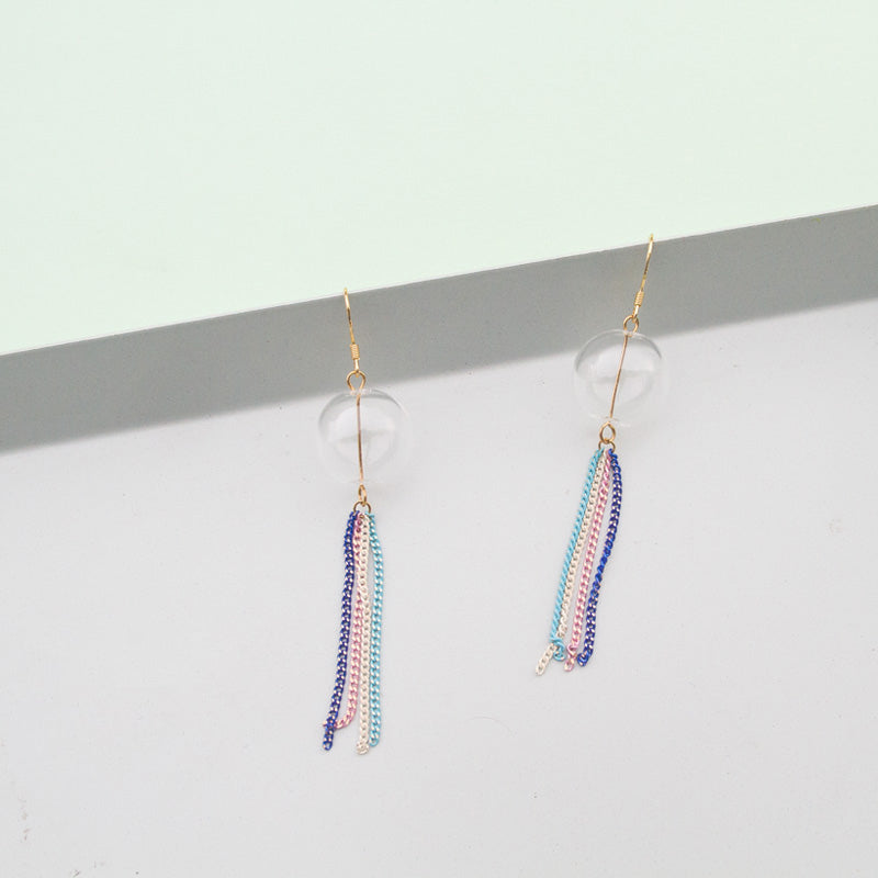 Jelly Fish Inspired Glass Bubble Tassel Drop Earrings - AHED Project