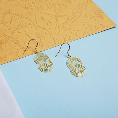 18K Gold Plated Interweave Cutout Drop Earrings