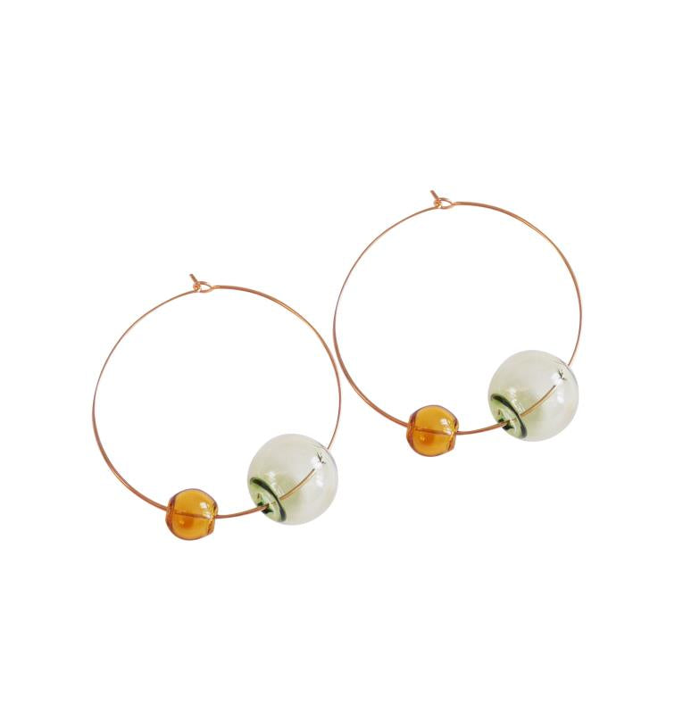 Breeze Dual Color Bubble Hoop Earrings (Quick to ship)
