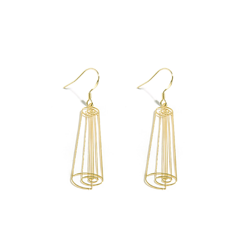 18K Gold Plated Cutout Roll Drop Earrings - AHED Project